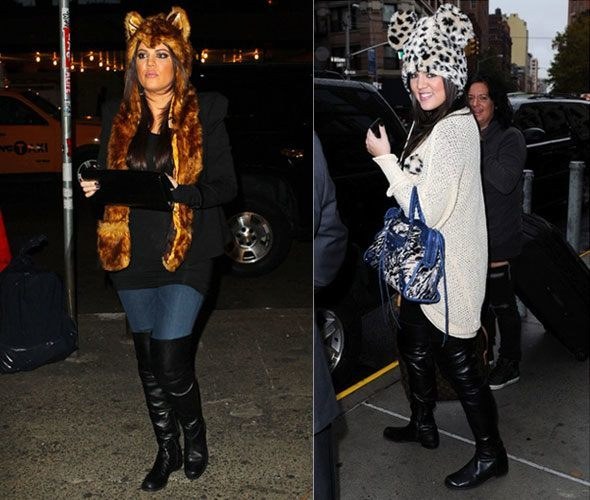 gorros de peluche Chloe y Kim Kardashian