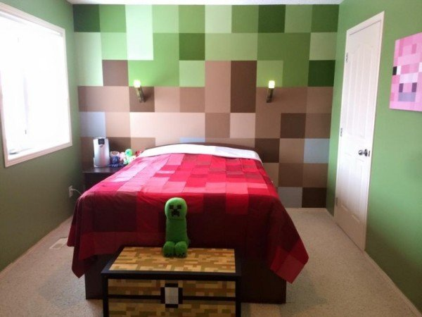 minecraft bedroom wallpaper dormitorio decorado como minecraft inventosabsurdos 12399