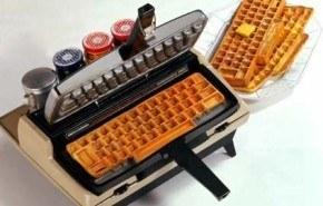 Waffles en forma de teclado de ordenador