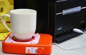 Base USB que mantiene la temperatura de bebidas